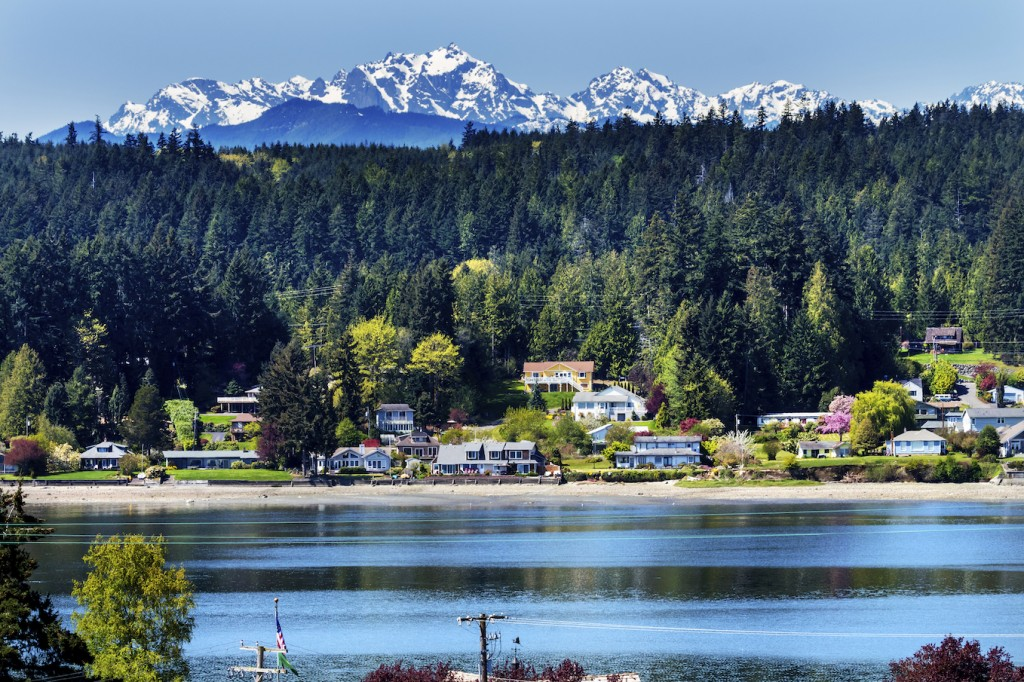 Poulsbo Bainbridge Island Snow Mountains Washington